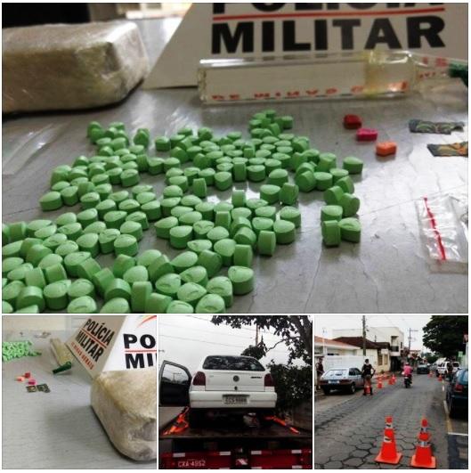 Dupla é presa com mais de 200 comprimidos de ecstasy em Andradas